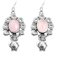 6.76cts natural pink morganite 925 sterling silver owl earrings jewelry p52006