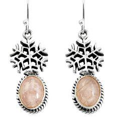 6.04cts natural pink morganite 925 sterling silver snowflake earrings p60838