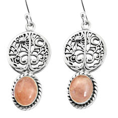 6.10cts natural pink morganite 925 sterling silver tree of life earrings p60802