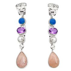 Clearance Sale- 14.88cts natural pink morganite pearl amethyst silver dangle earrings d32318