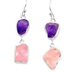 16.85cts natural pink morganite rough amethyst rough 925 silver earrings p73826