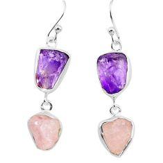 14.40cts natural pink morganite rough amethyst rough 925 silver earrings p73834