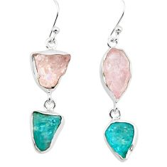 15.39cts natural pink morganite rough apatite rough 925 silver earrings p73833