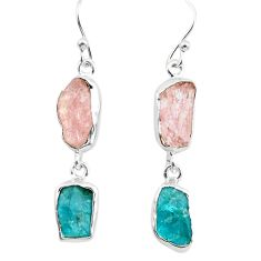 14.40cts natural pink morganite rough apatite rough 925 silver earrings p73840