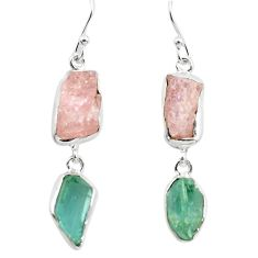 15.36cts natural pink morganite rough aquamarine rough silver earrings p73837