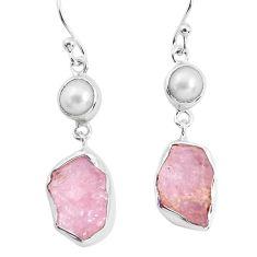 12.96cts natural pink morganite rough pearl 925 silver dangle earrings p51701