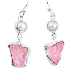12.06cts natural pink morganite rough pearl 925 silver dangle earrings p51703