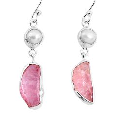 11.13cts natural pink morganite rough pearl 925 silver dangle earrings p51705