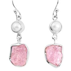 12.96cts natural pink morganite rough pearl 925 silver dangle earrings p51709