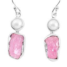12.96cts natural pink morganite rough pearl 925 silver dangle earrings p51716