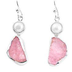 12.03cts natural pink morganite rough pearl 925 silver dangle earrings p51719