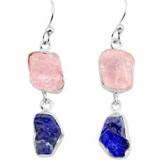 13.15cts natural pink morganite rough sapphire rough 925 silver earrings p73823