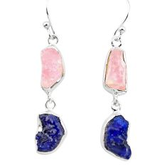 15.53cts natural pink morganite rough sapphire rough 925 silver earrings p73832