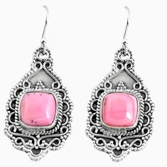 7.58cts natural pink opal 925 sterling silver dangle earrings jewelry p52745