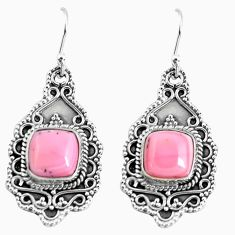7.73cts natural pink opal 925 sterling silver dangle earrings jewelry p52746