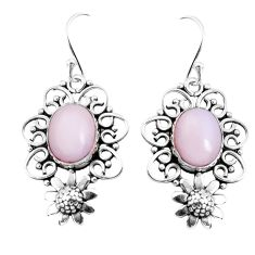 8.14cts natural pink opal 925 sterling silver flower earrings jewelry p52034