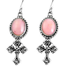 8.44cts natural pink opal 925 sterling silver holy cross earrings jewelry p54986