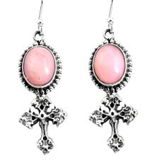 8.25cts natural pink opal 925 sterling silver holy cross earrings jewelry p54992