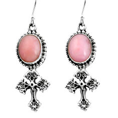 8.22cts natural pink opal 925 sterling silver holy cross earrings jewelry p60790