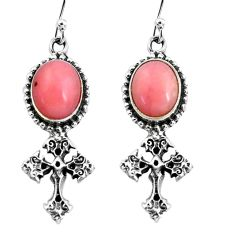 7.66cts natural pink opal 925 sterling silver holy cross earrings jewelry p60793