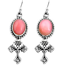 8.25cts natural pink opal 925 sterling silver holy cross earrings jewelry p60797