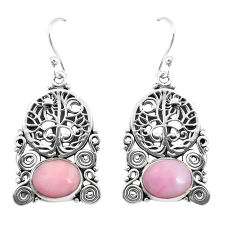 8.27cts natural pink opal 925 sterling silver tree of life earrings p52251