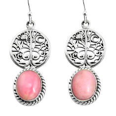 8.83cts natural pink opal 925 sterling silver tree of life earrings p54841