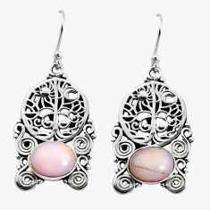 8.42cts natural pink opal 925 sterling silver tree of life earrings p58415