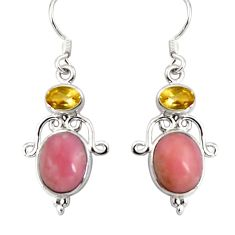 9.18cts natural pink opal citrine 925 sterling silver dangle earrings d32355
