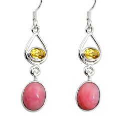 9.18cts natural pink opal citrine 925 sterling silver dangle earrings d32357