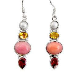 12.34cts natural pink opal garnet 925 sterling silver dangle earrings d32301