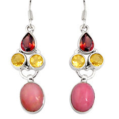 12.36cts natural pink opal garnet 925 sterling silver dangle earrings d32349