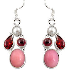 14.94cts natural pink opal garnet 925 sterling silver dangle earrings d32352