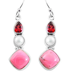 10.78cts natural pink opal garnet 925 sterling silver dangle earrings p57373