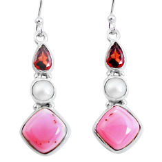 11.23cts natural pink opal garnet 925 sterling silver dangle earrings p57376
