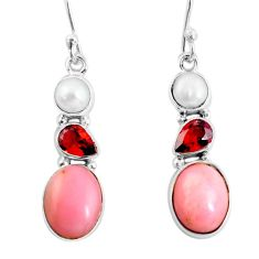 10.37cts natural pink opal garnet 925 sterling silver dangle earrings p57377