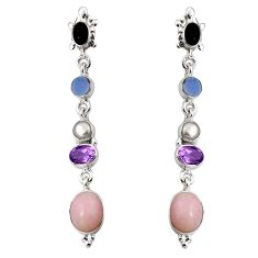 16.93cts natural pink opal pearl onyx 925 silver dangle earrings jewelry d32314