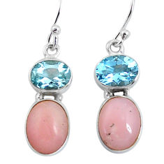 10.76cts natural pink opal topaz 925 sterling silver dangle earrings p57437