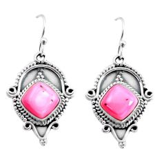 8.43cts natural pink queen conch shell 925 silver dangle earrings p58198