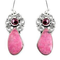 20.20cts natural pink rhodonite in black manganese 925 silver earrings d32371