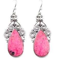19.27cts natural pink rhodonite in black manganese 925 silver earrings p72642