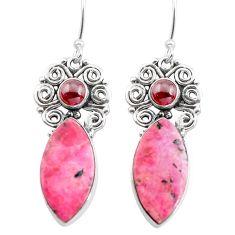 16.54cts natural pink rhodonite in black manganese 925 silver earrings p72644