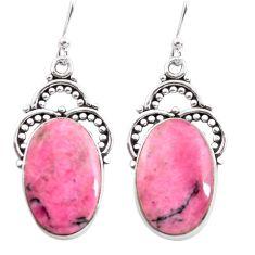 18.70cts natural pink rhodonite in black manganese 925 silver earrings p72647