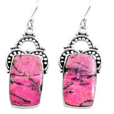 19.23cts natural pink rhodonite in black manganese 925 silver earrings p72649