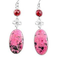 21.41cts natural pink rhodonite in black manganese 925 silver earrings p78492