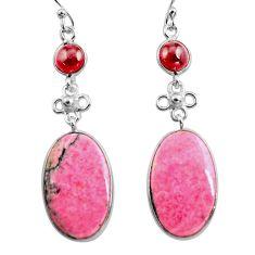 22.81cts natural pink rhodonite in black manganese 925 silver earrings p78493