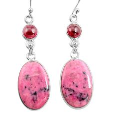 21.41cts natural pink rhodonite in black manganese 925 silver earrings p78496