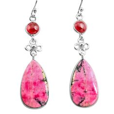 21.41cts natural pink rhodonite in black manganese 925 silver earrings p78497