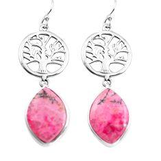 Natural pink rhodonite in black manganese silver tree of life earrings p72521