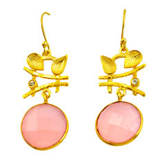 18.60cts natural pink rose quartz 925 silver 14k gold chandelier earrings p49783